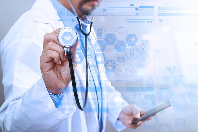 Medical technology concept. Doctor hand working with modern smart phone with medical chart interface,multi channel. Connection,white background stock photo