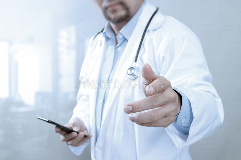 Medical technology concept. Doctor hand working with modern smart phone with medical chart interface,multi channel. Connection,white background stock images