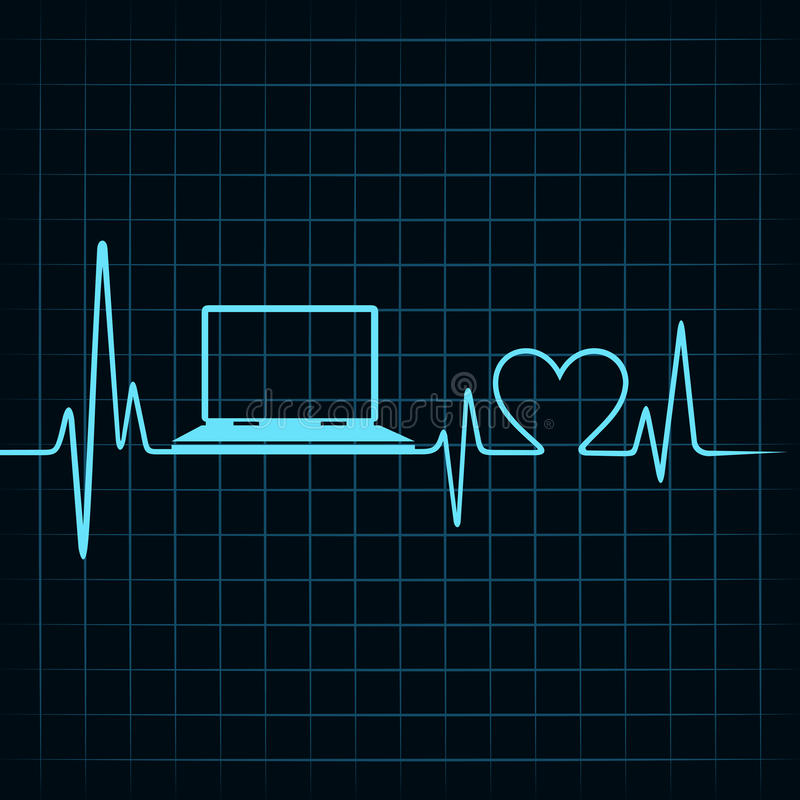 Medical technology concept, heartbeat make a laptop. Stock vector stock illustration