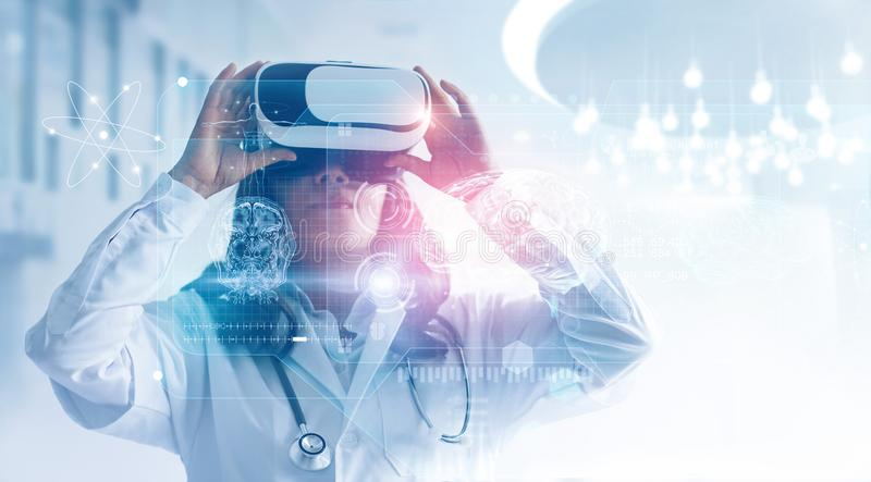 Medical technology concept. Mixed media. Female doctor wearing virtual reality glasses. Checking brain testing result with simulat stock illustration