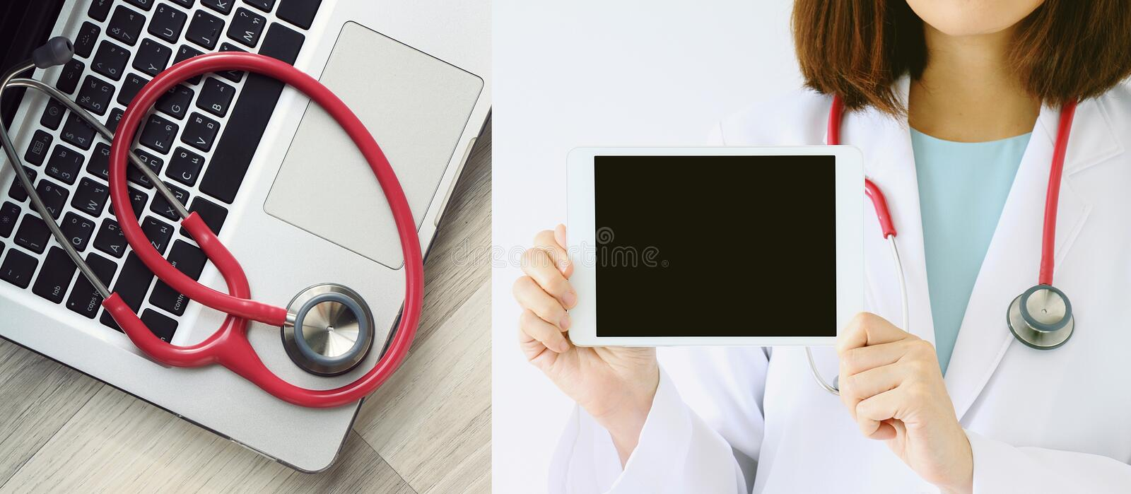 Medical and technology concept. Stethoscope and laptop computer. stock image