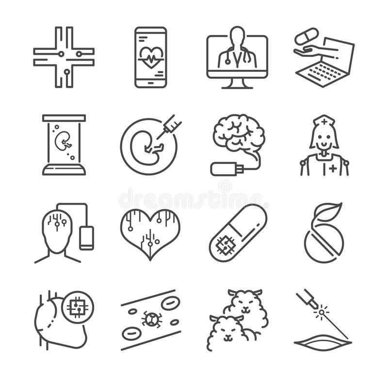 Medical Technology line icon set. Included the icons as online doctor nano capsule, nano robot, clone, digital brain and more. stock illustration