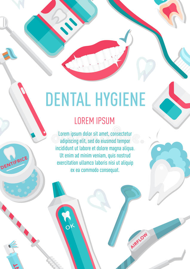 Medical teeth hygiene leaflet A4. And banners template design vector with tools and equipment on blue background. Take care teeth. Concept for your design vector illustration