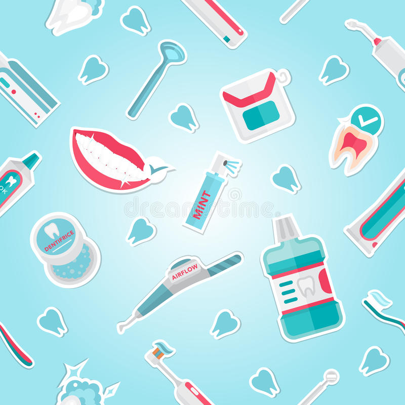 Medical teeth hygiene pattern vector. With tools and equipment on blue background. Dental care flat illustration art stock illustration