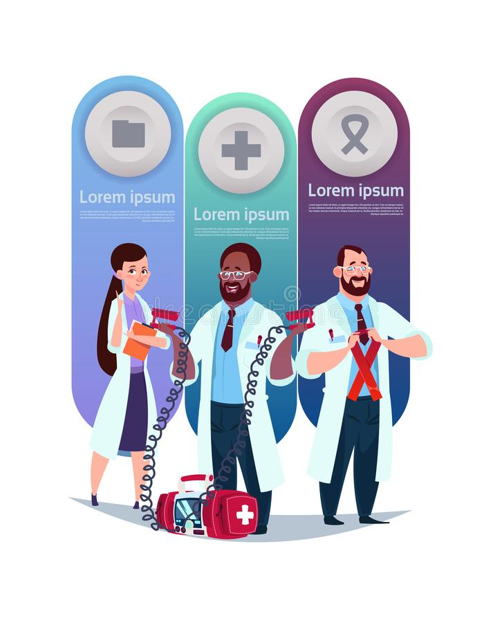 Medical Template Infographic Elements Background With Team Of Doctors stock illustration