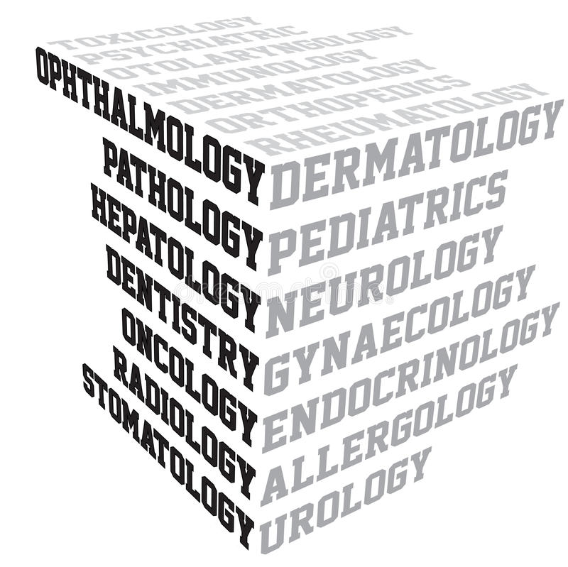 Medical terms typography. In a cube shape stock illustration