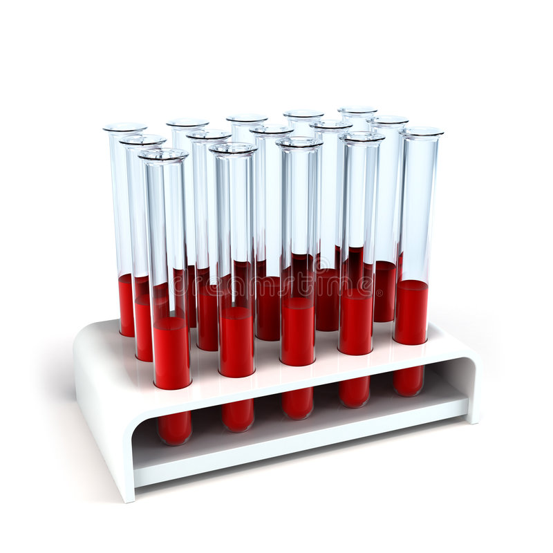 Medical test-tube with blood samples royalty free illustration