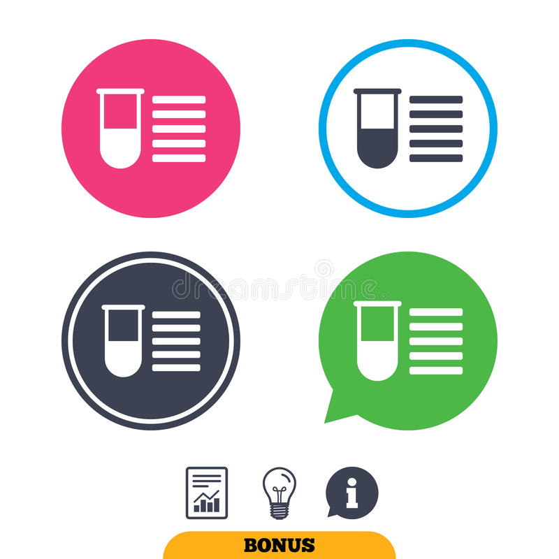 Medical Test Tube Sign Icon Lab Equipment Stock Vector