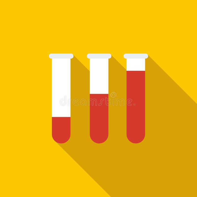 Medical test tubes with blood in holder icon royalty free illustration
