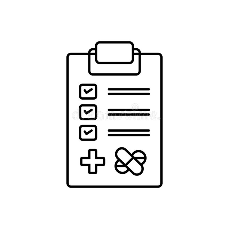 Black line icon for Medical tests, investigation and research royalty free illustration