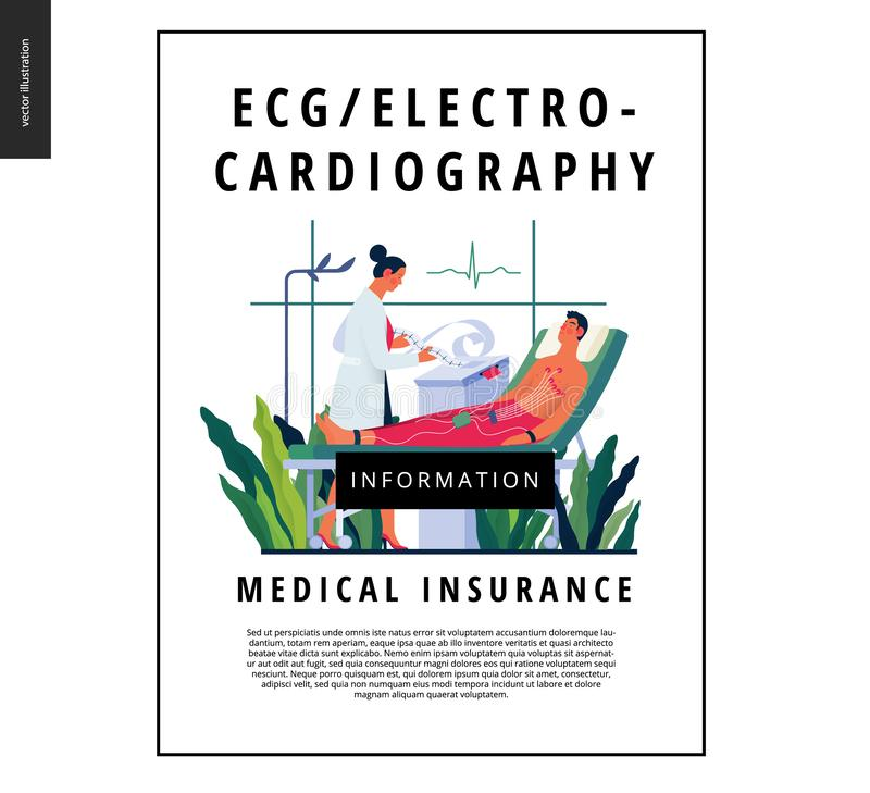 Medical tests template - electrocardiography. Medical tests template -ECG test -modern flat vector concept digital illustration of electrocardiography procedure royalty free illustration