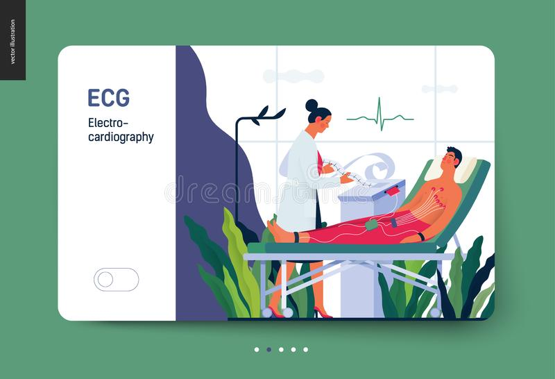 Medical tests template - electrocardiography. Medical tests template -ECG test -modern flat vector concept digital illustration of electrocardiography procedure vector illustration