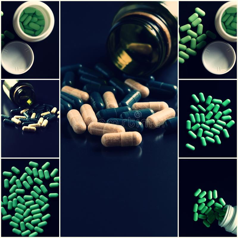 Medical theme collage. Green pills set of images shot with copyspace stock photo