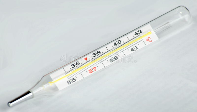 Medical thermometer. One temperature medical Celcius thermometer royalty free stock photos