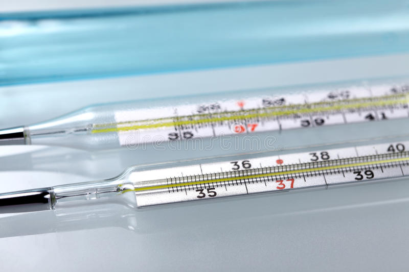 Medical thermometers stock image