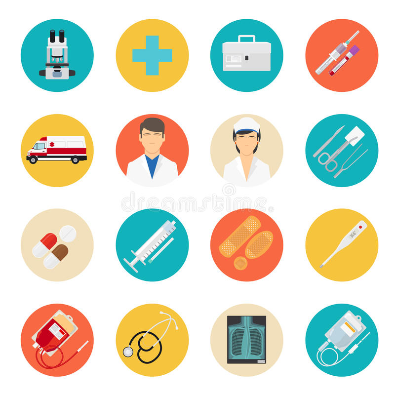 Medical tools and health care icons royalty free illustration