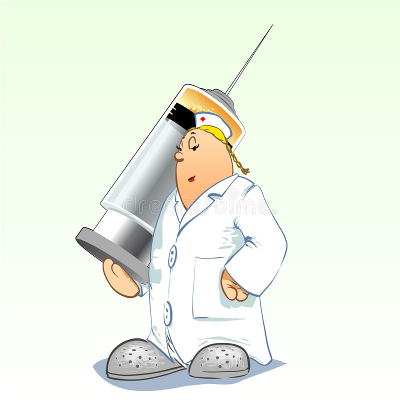 Medical toons - Nurse with huge syringe royalty free stock photos