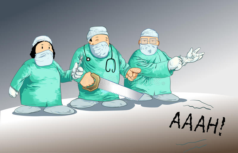 Medical toons - Surgery parody. Detailed vector illustration of a surgery team parody stock illustration