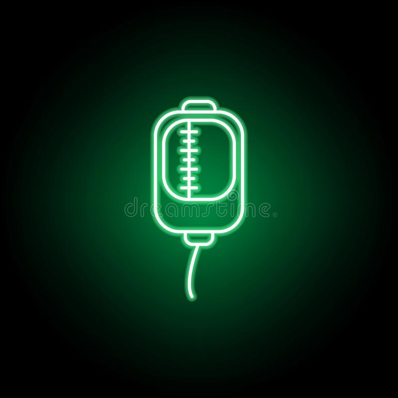 Medical, transfusion icon in neon style. Element of medicine illustration. Signs and symbols icon can be used for web, logo,. Mobile app, UI, UX on black vector illustration