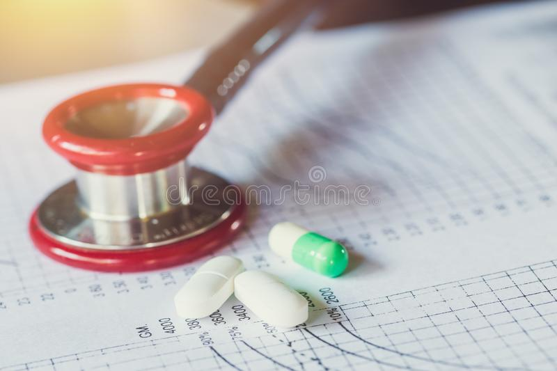 Medical treatment concept. medical chart patient follow up diagnosis analysis stock image