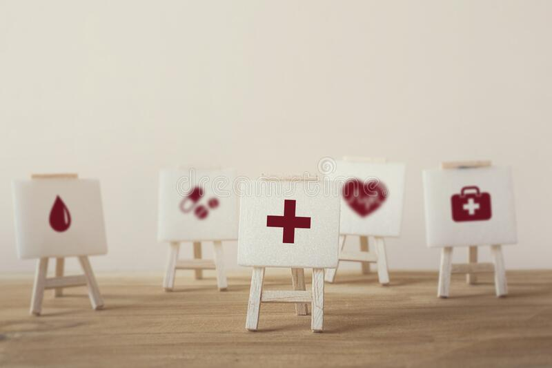 Medical treatment / Medical operating system / Healthcare concept :  icon healthcare medical with sign stand. Health and medical royalty free stock photo