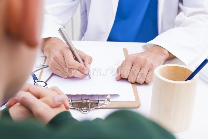 Medical and treatment. In consultation with medicines royalty free stock photo