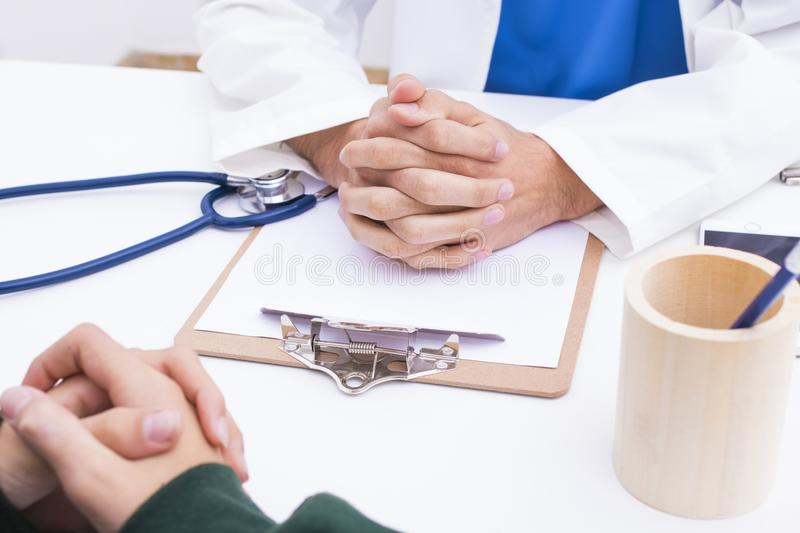 Medical and treatment. In consultation with medicines stock photo