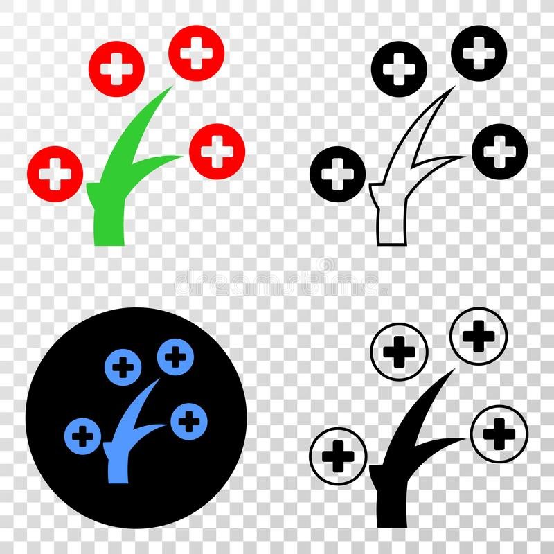 Medical Tree Vector EPS Icon with Contour Version. Medical tree EPS vector pictograph with contour, black and colored versions. Illustration style is flat iconic royalty free illustration
