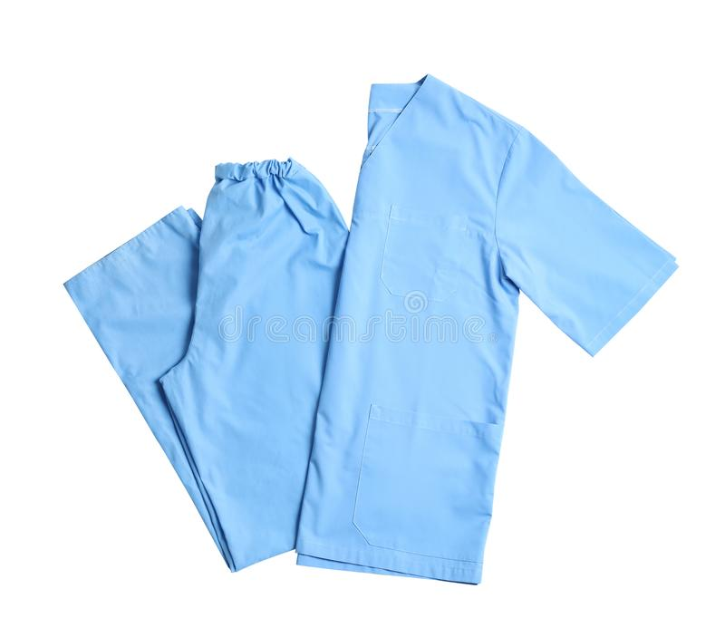 Medical uniform on white background, top view. Professional work clothes stock photos