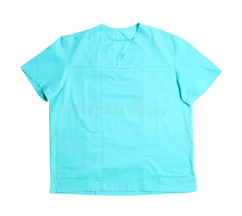Medical uniform on white background, top view. Professional work clothes stock images