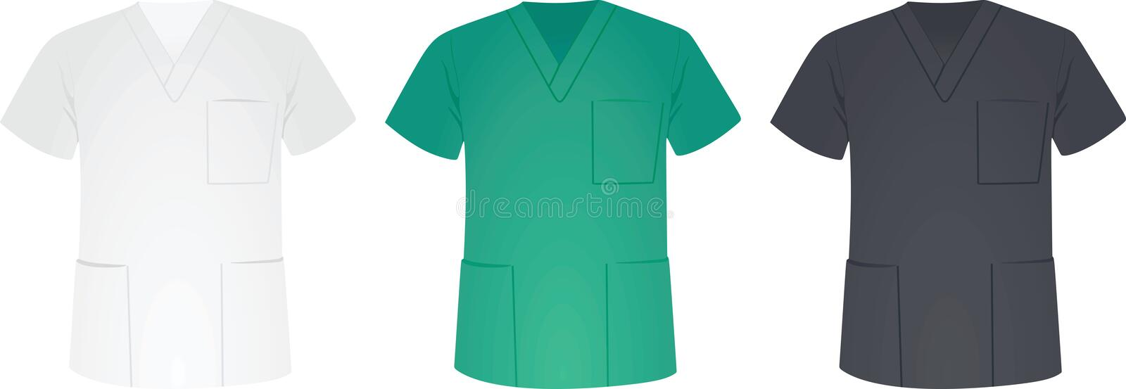 Medical uniforms in three colors vector illustration