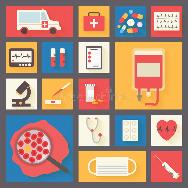 Medical vector icons set. Ambulance and blood stock illustration