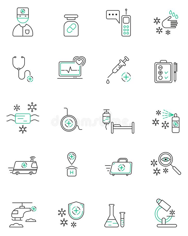 Medical vector icons set. Linear design medicine and health care.Elements for mobile concepts and web apps. For your design vector illustration