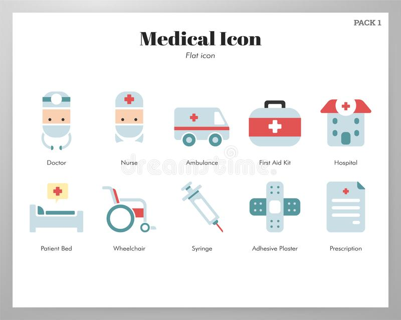 Medical icons flat pack vector illustration