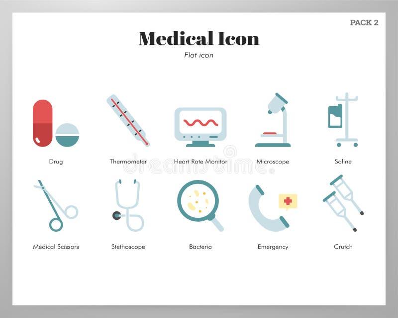 Medical icons flat pack royalty free illustration