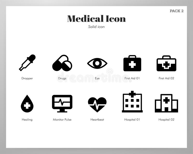 Medical icons Solid pack stock illustration