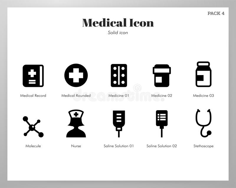 Medical icons Solid pack royalty free illustration