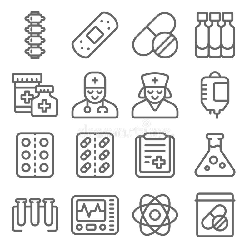 Medical Vector Line Icon Set. Contains such Icons as Doctor, Nurse, Bones, Report, Bag Blood and more. Expanded Stroke. Medical Vector Line Icon Set. Contains royalty free illustration