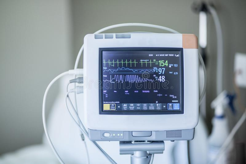Medical vital signs monitor in a hospital stock images