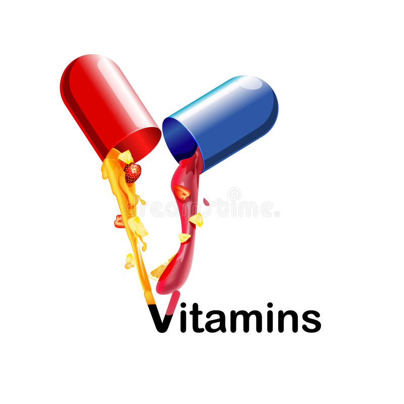 Medical vitamins and minerals the background. Tablets, health, capsules pharmaceutical pour the juice with the fruit. 3d. Medical vitamins and minerals the vector illustration