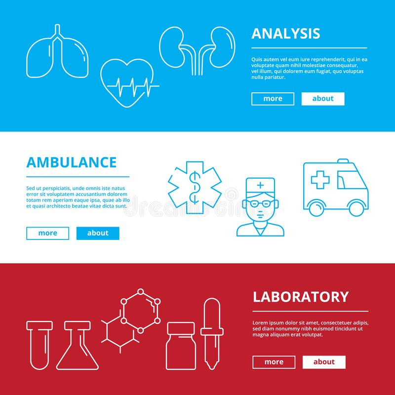 Medical web banners. Healthcare illustrations doctor hospital medicaments vector symbols isolated royalty free illustration