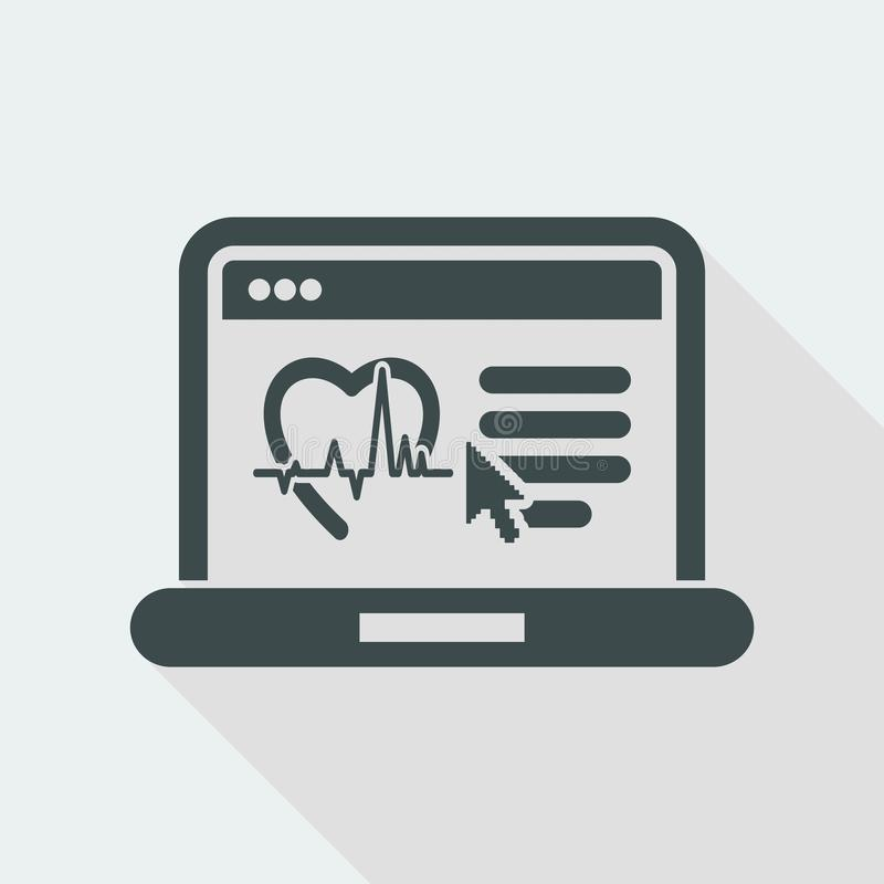 Medical website page. Flat and isolated vector eps illustration icon with minimal design and long shadow vector illustration