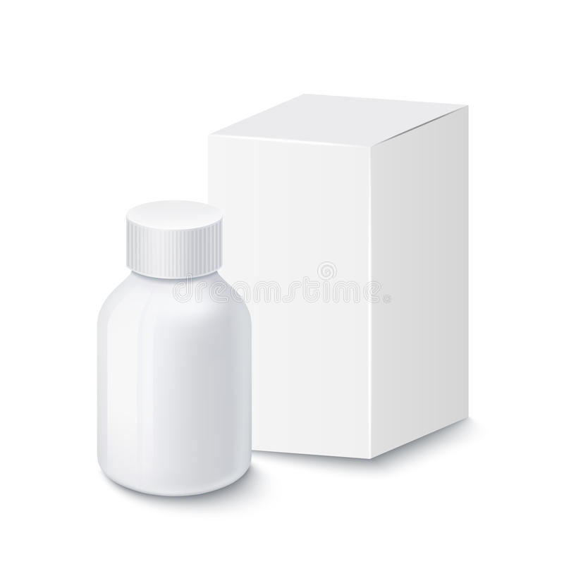 Medical white plastic bottle for pills with white cardboard packaging, isolated on white background vector illustration