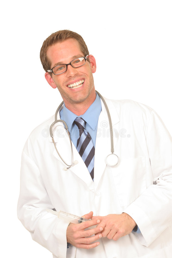 Medical worker holding a syringe royalty free stock photos