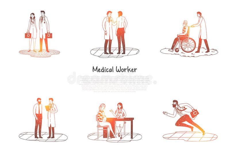 Medical worker - medical workers taking care of patients and hurriyng up to emergency calls vector concept set. Hand drawn sketch isolated illustration vector illustration