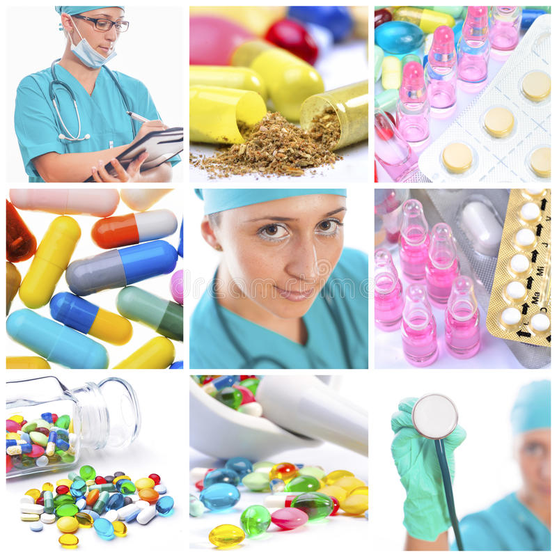 Medical worker and pills royalty free stock photography