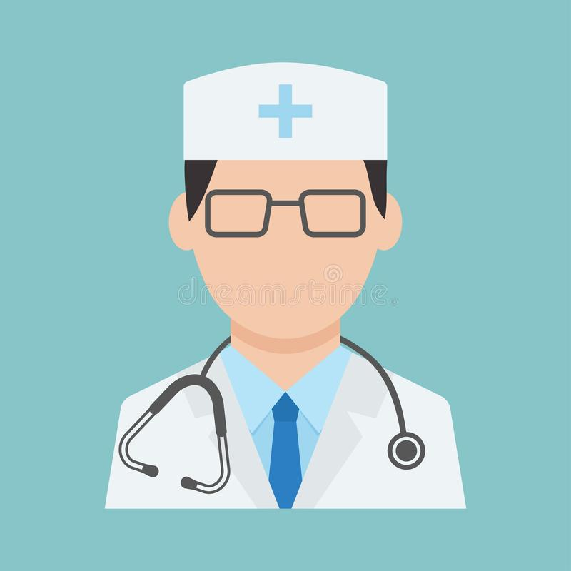 Medical worker with stethoscope, health professional avatar, medical staff, doctor icon on blue background. Vector stock illustration