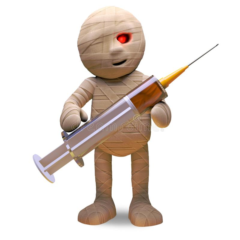 Medically minded Egyptian mummy monster holds a medical syringe, 3d illustration royalty free illustration