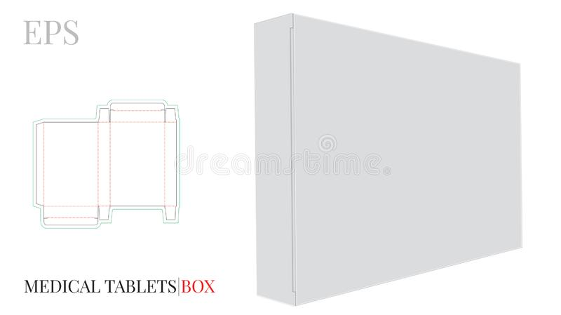 Medical Tablets Box Template with die cut lines. Vector with die cut / laser cut lines. White, clear, blank, isolated Pills Box royalty free illustration