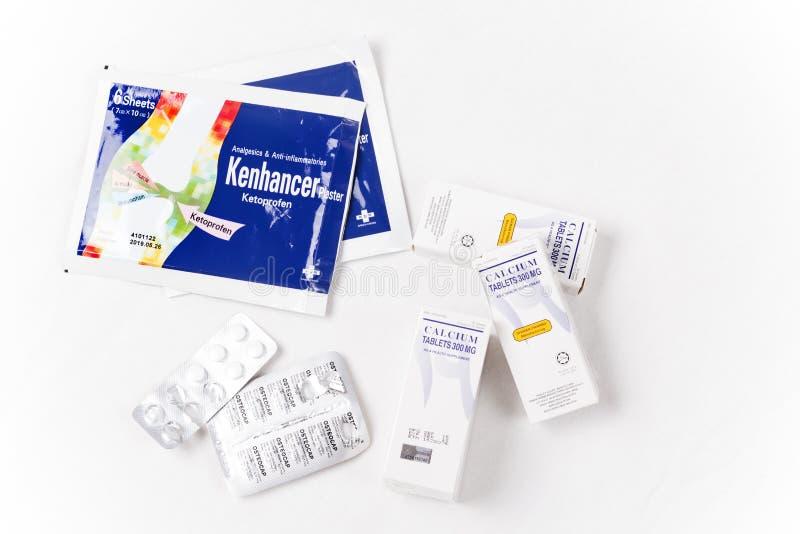 Medicamentação à junção do relevo, ao músculo ou à doença da espinha dorsal imagens de stock royalty free